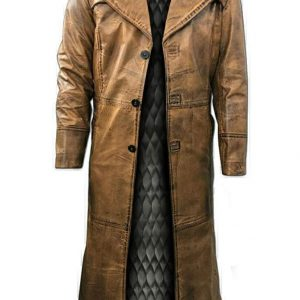 brown distress leather overcoat