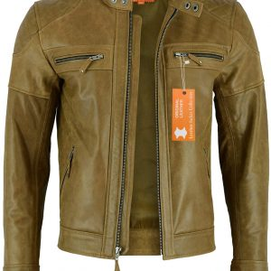 front-open-jacket / Classic vintage distress leather