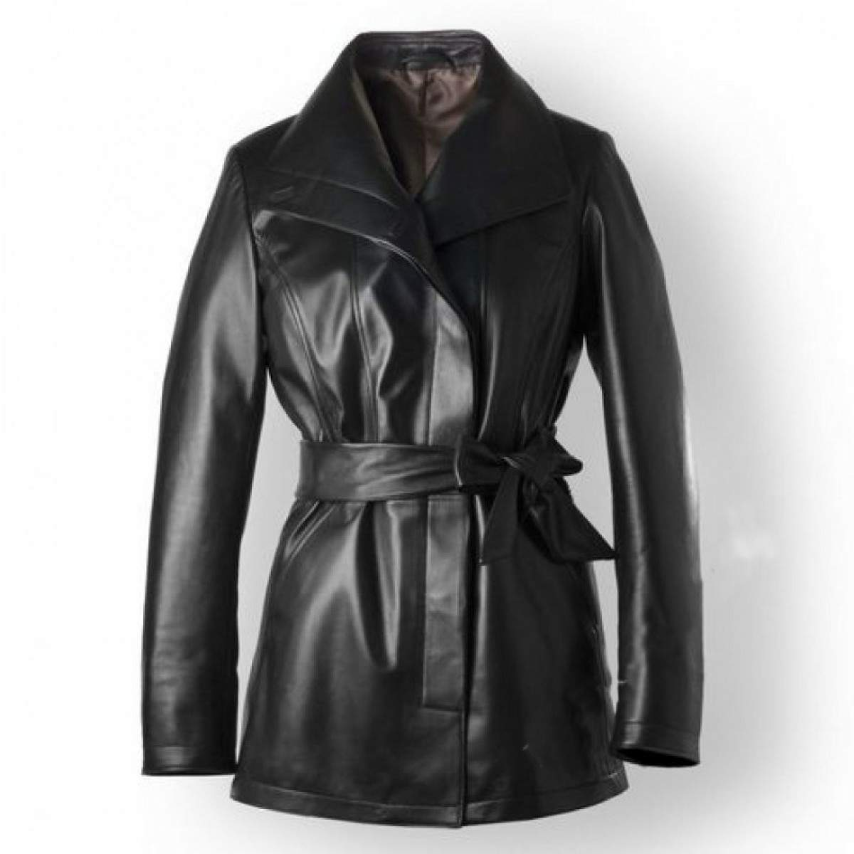 women trench coat button down with leather belt/ leather trench coat