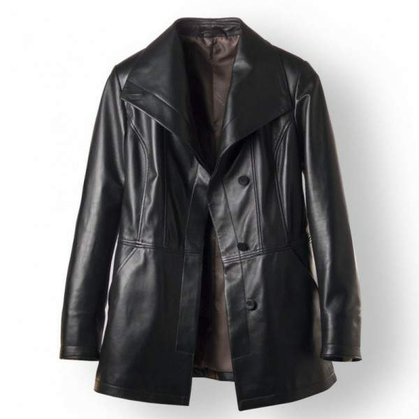 women trench coat button down with leather belt