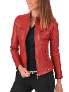 red bomber jacket/ pink leather jacket