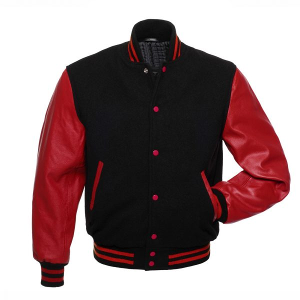 womens red varsity jacket leather sleeves
