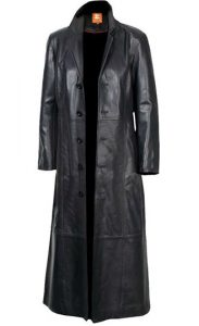 Mens Leather long trench coat
