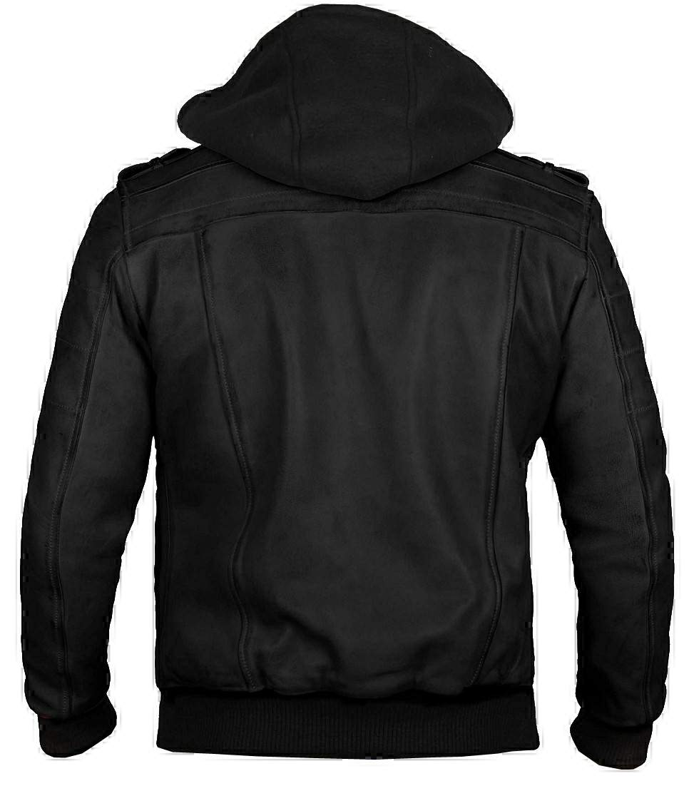 men hooded leather jacket