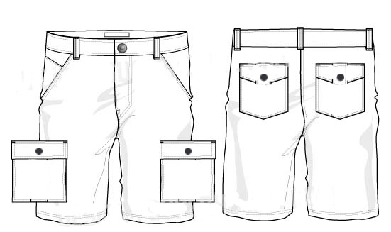 leather cargo shorts sketch