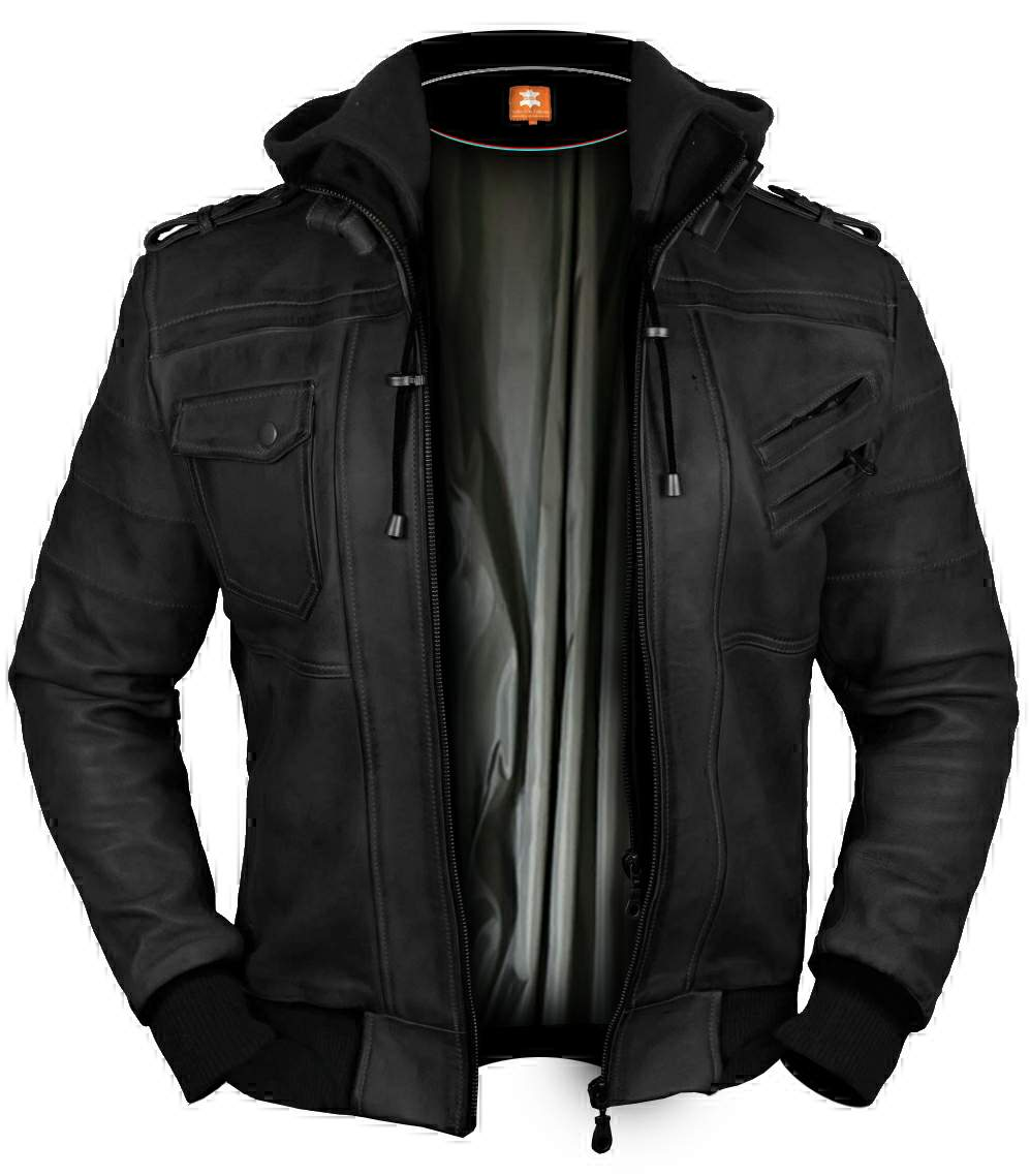 leather-jacket-fleece / Black Bomber Hooded jacket