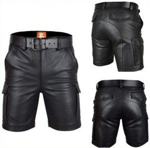 men's leather cargo shorts