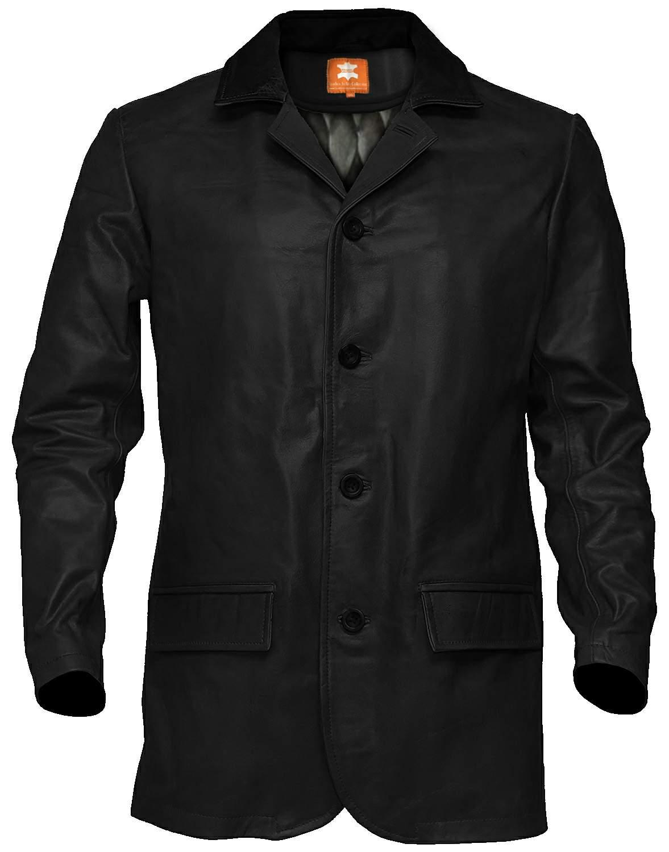 men black leather trench coat