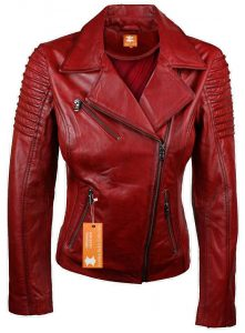 womens red leather jacket valentine