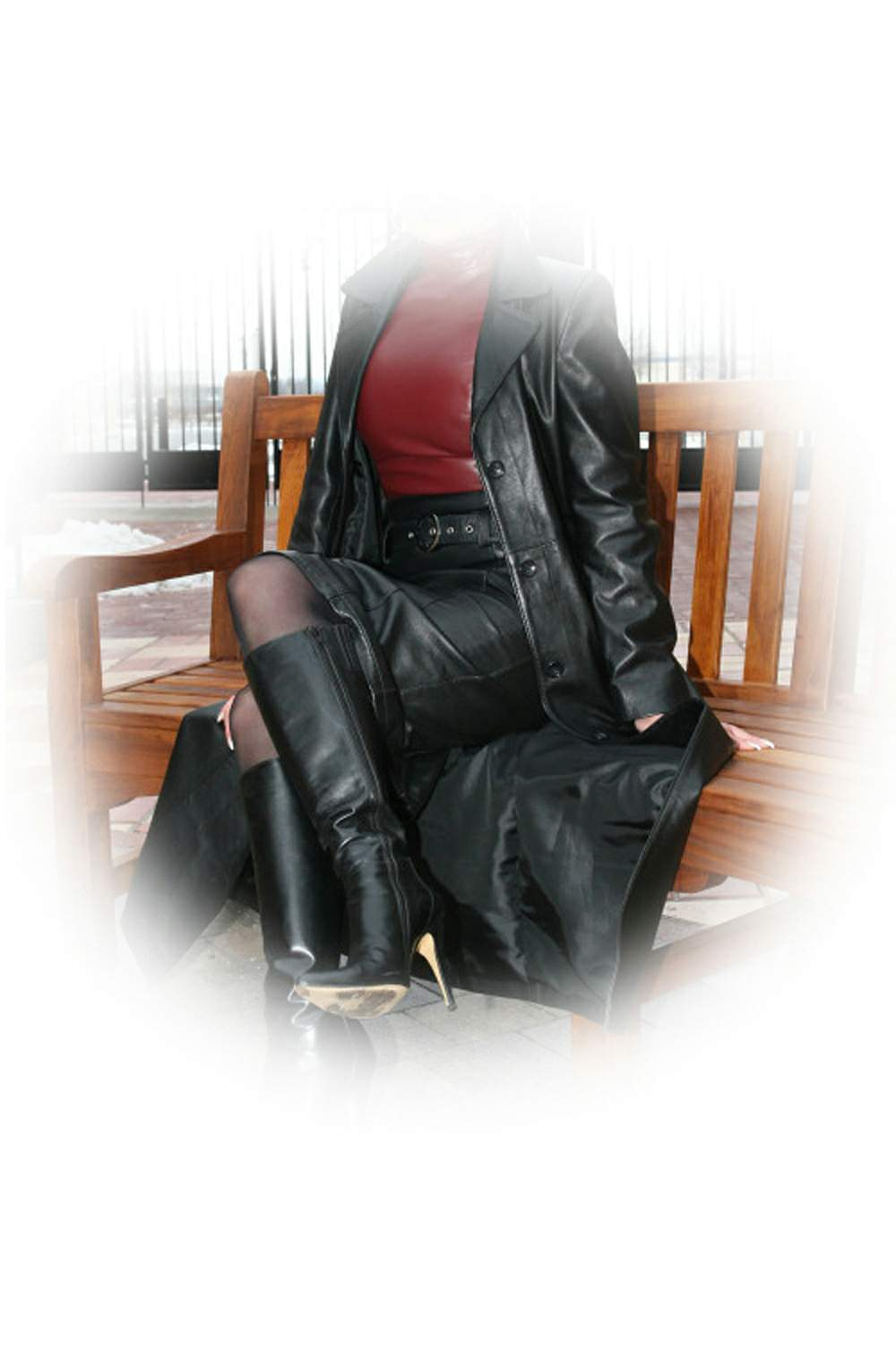 women long coat black real leather