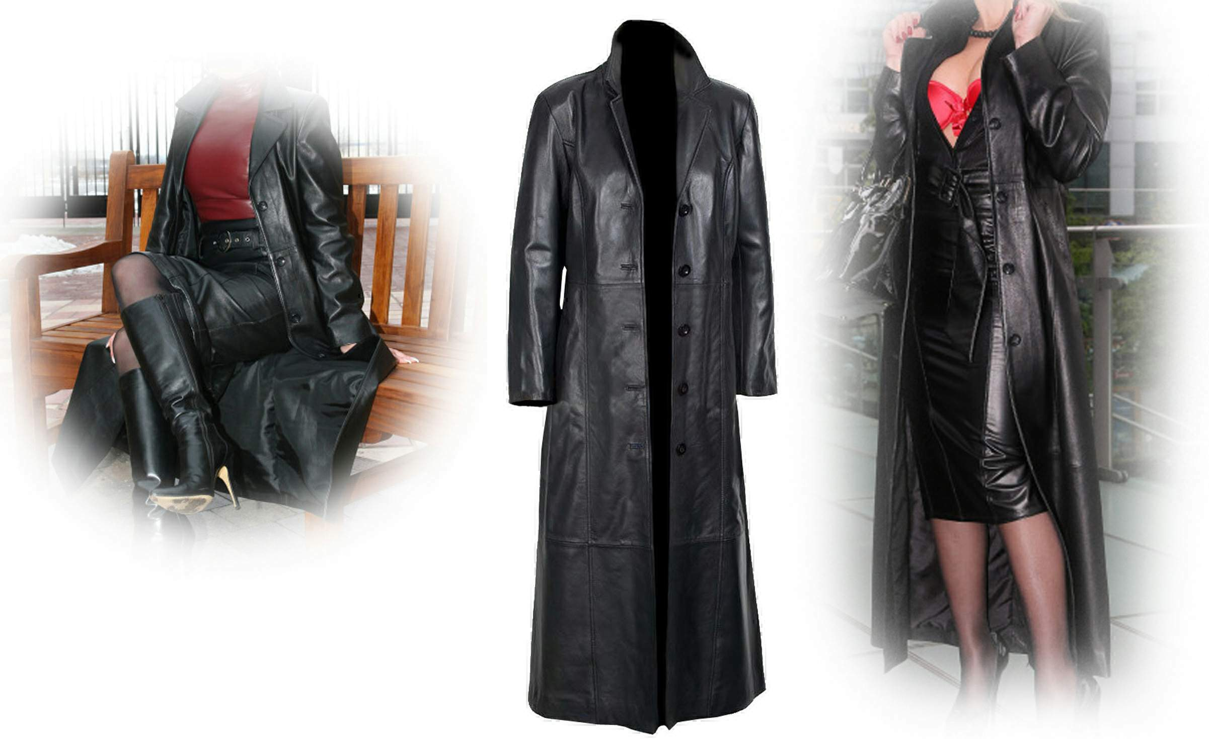 black women long coat real leather